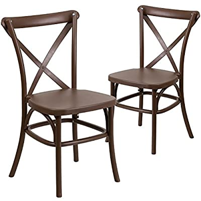 Flash Furniture 2 Pk. HERCULES Series Chocolate Resin Indoor-Outdoor Cross Back Chair with Steel Inner Leg - Stackable Bistro Style Chair 1000 lb. Weight Capacity Stacks up to 10 Chairs High - kitchen-dining-room-furniture, kitchen-dining-room, kitchen-dining-room-chairs - 51Iad8KBaHL. SS400  -
