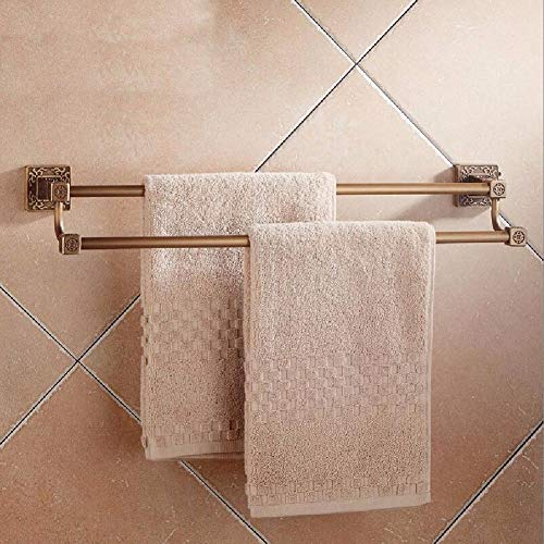 MBYW Modern Minimalist high Load-Bearing Towel Rack Bathroom Towel Rail European high and Low Double Towel bar Copper Double Towel Rack Suitable for Bathroom, Bedroom, Kitchen, Office ()