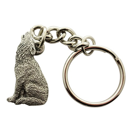 (Sarah's Treats & Treasures Howling Wolf Keychain ~ Antiqued Pewter ~ Keychain)