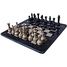 16 Inches Handmade Black and Coral Marble Full Chess Game Original Marble Chess Set