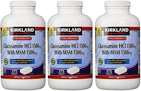 Kirkland YcePz, Extra Strength Glucosamine HCI with MSM 375 Count (Pack of 3)