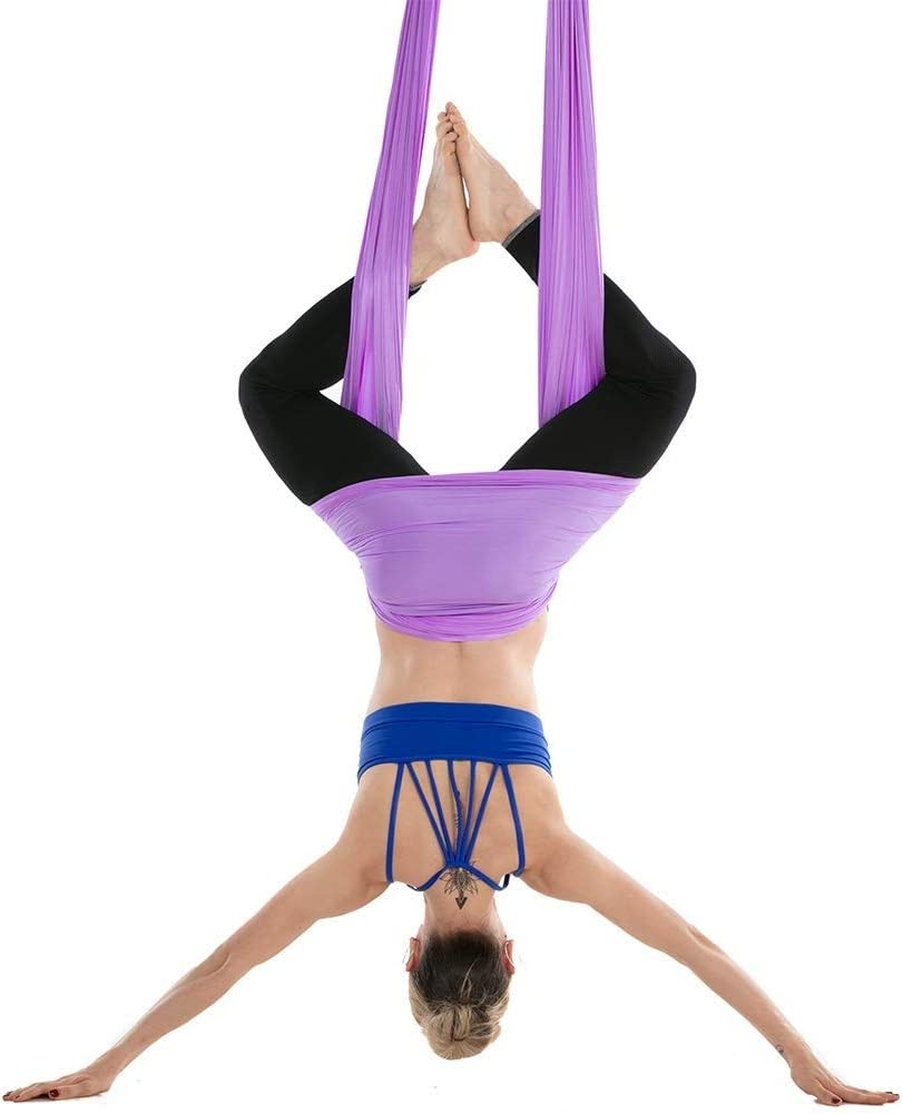 SADWF 4M Lang,2.8M Breit,Yoga Hammock Fliegen Hammock Schaukel Aerial Yoga Hammock Silk Gewebe Mit Karabiner /& Daisy Chain for Yoga Anti-Schwerkraft Pilates
