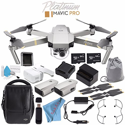 DJI Mavic Pro Platinum Fly More Combo CP.PT.00000069.01 + DJI Goggles FPV Headset CP.PT.000672 + DJI Goggles Sleeve CP.PT.000878 + Deluxe Cleaning Kit + Memory Card Wallet + 64GB microSDXC Bundle by DJI