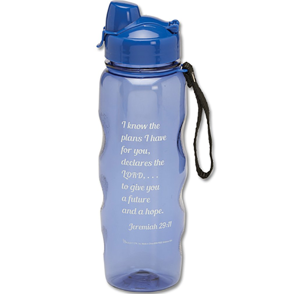 Jeremiah 29:11 I Know the Plans I Have For You Blue 22 Oz Water Bottle with Flip Top