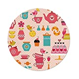 iPrint Polyester Round Tablecloth,Tea Party,Cute Tea Time Elements Funny Cartoon Birds Hearts Love Imagery Cake Sugar Decorative,Multicolor,Dining Room Kitchen Picnic Table Cloth Cover Outdoor Indoo