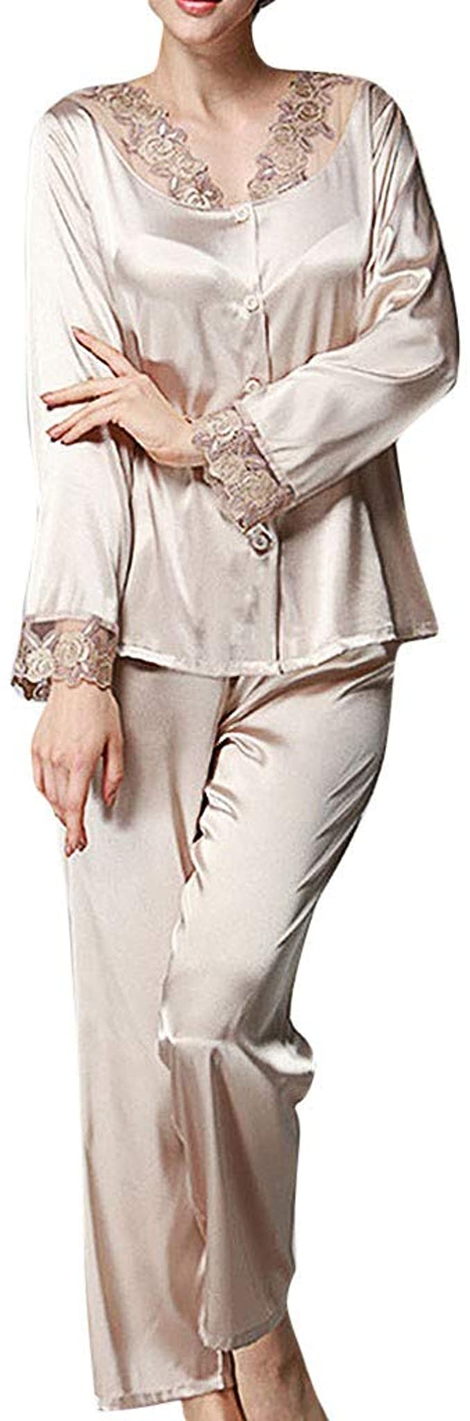 Vintage Nightgowns, Pajamas, Baby Dolls, Robes waitFOR Ladies 2 Piece Sleepwear Set Long Sleeves Satin Silk Lace Buttons Tops Long Pants Women Nightgown Chemise Underdress Lingerie Night Dress Sleepwear Slim Fit Slip Pajama £12.39 AT vintagedancer.com