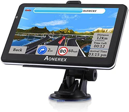 GPS Navigation for Car Truck 7 Inch Touch Screen Voice Navigation Vehicle GPS, Speeding Warning, Route Planning, Free Lifetime Maps of USA Canada Mexico