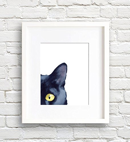Sneaky Black Cat Watercolor Black Cat Art Print Wall Decor (Cat Watercolor)