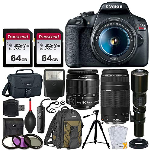 - Canon EOS Rebel T7 DSLR Camera + EF-S 18-55mm f/3.5-5.6 IS II + EF 75-300mm f/4-5.6 III Lens + Telephoto 500mm f/8.0 T-Mount Lens (Long) + 2x 64GB Memory Card + Canon EOS Bag + Canon Backpack + Tripod