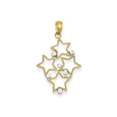 14k Yellow Gold Star Pendant Charm Necklace Celestial Fine Jewelry Gifts Women