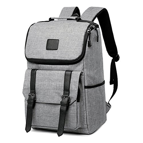 Unisex Professional Slim Business Backpacks Laptop, Feskin Fashion Lightweight Casual Tablet Backpack Daypacks Shoulder Bags for School Students Laptop Macbook Computer - Grey by Feskin (Image #5)