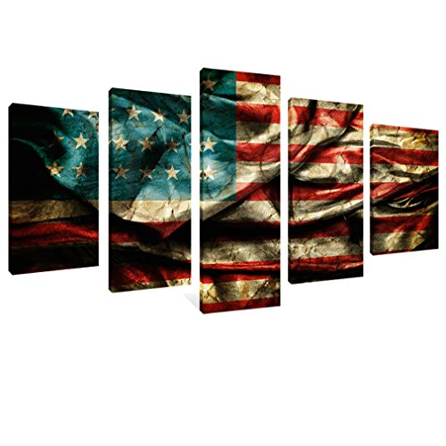 Retro American Flag Canvas Painting Print Wall Art Vintage Flag
