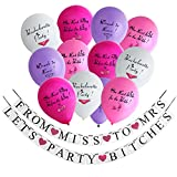 Konsait Bachelorette Party Decoration Kit,2-in-1 Bachelorette Party Banner From Miss to Mrs & Let's Party Bitches Banner Plus Bachelorette Party Balloons Naughty (12pcs,10