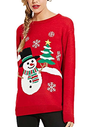 Lady ViVi Women's Christmas Trees Snowman Jumper Knit Red Ugly Sweaters RED - Patchwork Embroidered Sweater