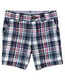 Carter's Toddler Boys' Plaid Flat-Front Twill Shorts, Blue, 2T