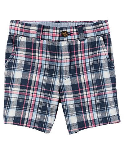 Flat Front Twill Shorts (Carter's Toddler Boys' Plaid Flat-Front Twill Shorts, Blue, 4T)
