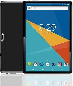 MoZhu Android Tablet 10 Inch,Cheap Tablets PC 10.1,HD,3G, WiFi, GPS, Octa Core, 64GB ROM,4GB RAM, Dual Sim Card, New, (Black)