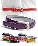 Solid Color Leather Adjustable Skinny Belt with