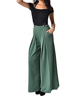 Damen Weite Hosen Vintage Elegante Unifarben Palazzo Hosen High Waist Loose  Mode Marken Bequeme Freizeithose Sommerhose fdc38b46c8