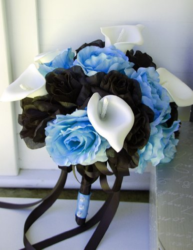 Angel Isabella Bridal Wedding Bouquet - Baby Blue and Black Rose with White Calla Lily and Black Ribbon