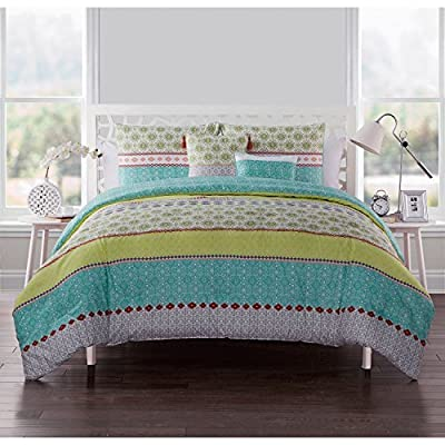 VCNY Home Dharma Reversible Stripes 5 Piece Bedding Comforter Set, King, Multi - Transport yourself to exotic, far off places with the Dharma Embellished Comforter Set, which features layers of beautiful, multi-colored prints on one side and a two-tone pattern on the other-two global-inspired styles in one. Made of soft microfiber, the set includes a comforter, shams (one sham in Twin XL), and two decorative pillows to complete the look. Super-soft - 100% microfiber - Reversible design features multi-colored prints and two-tone pattern - Set includes comforter, shams (one sham in Twin XL), and decorative pillows Decorative pillow dimensions: 12x16 and 16x16 Twin dimensions: 66x90 (1 comforter), 21x27 (1 sham) Queen dimensions: 90x90 (1 comforter), 21x27 (2 shams) King dimensions: 102x88 (1 comforter), 21x37 (2 shams) - comforter-sets, bedroom-sheets-comforters, bedroom - 51Iaf j8IsL. SS400  -