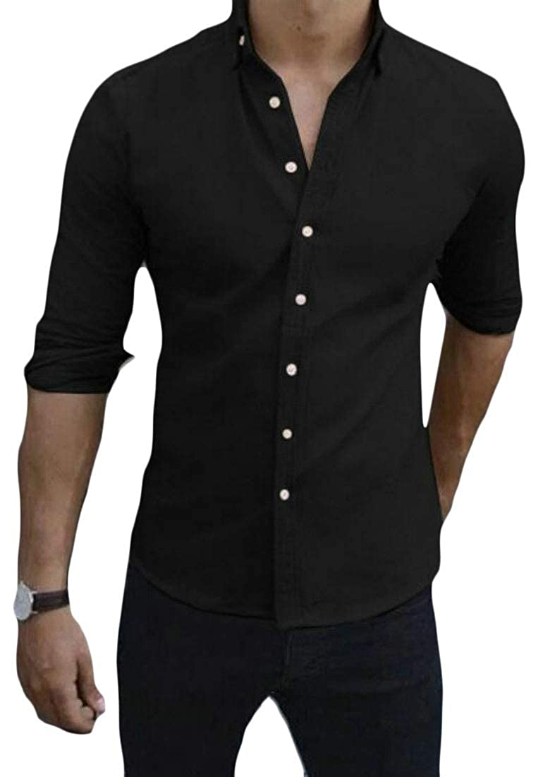 YYG Mens Casual Regular Fit Button Up Solid Color Long Sleeve Lapel Dress Shirts