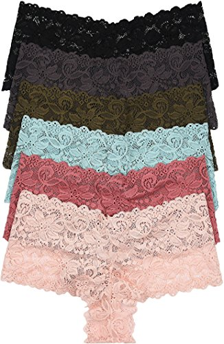 ToBeInStyle Women's Pack Of 6 Plus Size Full Lace Hipster Briefs - 2X
