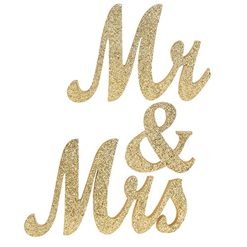 Ling's moment Large Vintage Exquisite Mr and Mrs Letters Wedding Decoration/Present Painted Glitter Champagne Gold (No Glitter Fall Off)