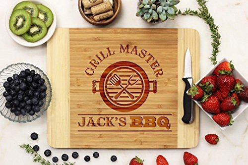 (Grill Master Personalized Cutting Board With Name Father's Day Gift)