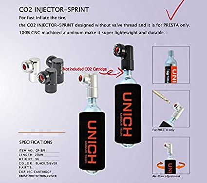 Uniche CO2 Injector Sprint For Bike Tire Inflator-Head-Presta-Valve Only