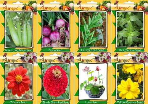 Shopmeeko SEED Green Long Brinjal, Onion, Cluster B, Mint (Pudina), Tithonia, Red Zinnia, and Yellow Cosmos Seed + Humic (For Growth of All and Better Responce) 15 gm Humic + (Pack Of 40 seed * 4 Per Pkts of Vegetables) + (Pack Of 40 Seed * 3 Per Pkts Flow