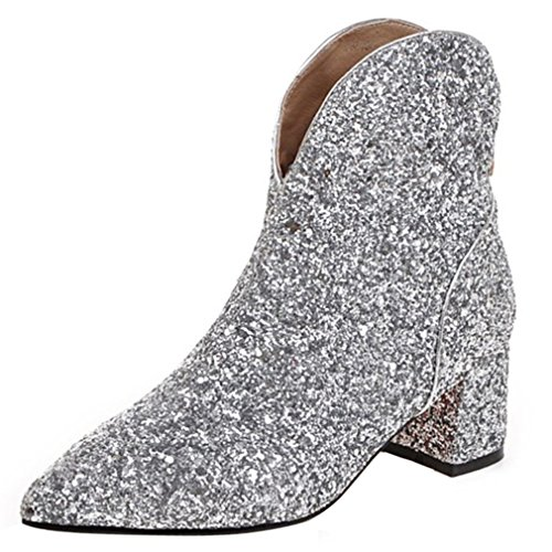 ENMAYER Womens Glitter Material Shoes Square High Heels Ankle Boots Zipper Silver 5ddQoo