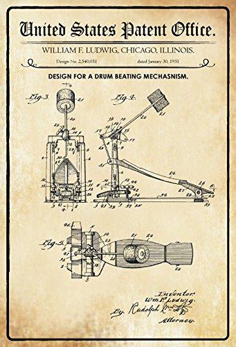 ComCard US Patente - Design for a Drum Beating Mechanism - Entwurf für einen Trommelschlagmechanismus - Ludwig - 1951 - Design No 2.540051 - Schild aus Blech, Metal Sign, tin