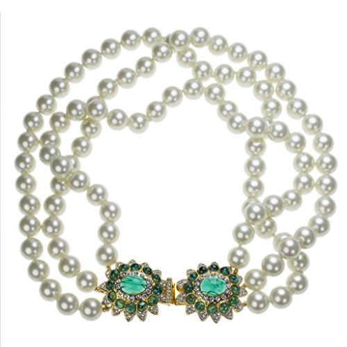 Simulated Pearl Necklace Kenneth Lane Pearls 3 Rows 12mm As Worn by Barbara Bush Green Clasp