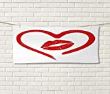 Anniutwo Kiss,Travel Towel,Heart Drawn in Lipstick Woman Lip Imprint Romance Passion Tenderness Message,Quick-Dry Towels,Red White Size: W 14'' x L 27.5''