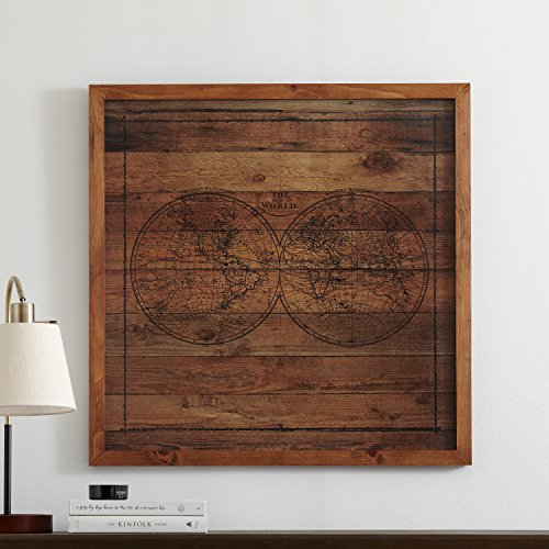 Modern Black Ink Global Map on Paper, on Wood, Brown Frame, 32'' x 32'' by Stone & Beam (Image #3)