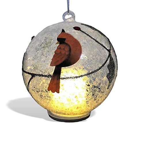 Cardinal Christmas Ornament - Light Up Glass Ball Ornament Cardinal Design - White Snow and Glitter Inside (Ornament Glass Globe Holidays)