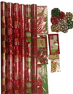 The Gift Wrap Company Festive Tidings Wrapping Paper, Gift Tissue, Tags, and Bow Assortment