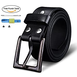 "Finrosy Men's Leather Belt 1.5""-Wide Snap on Belt Strap With Big & Tall Sizes(Black, 115cm)"