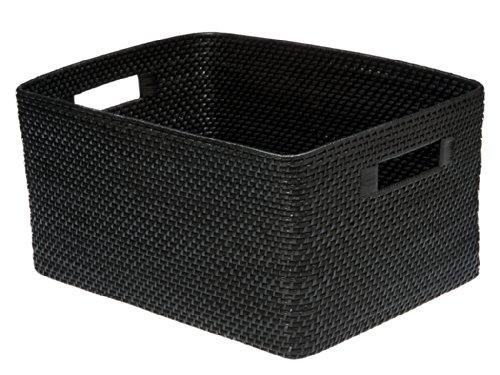 KOUBOO Rectangular Rattan Storage Basket, Black