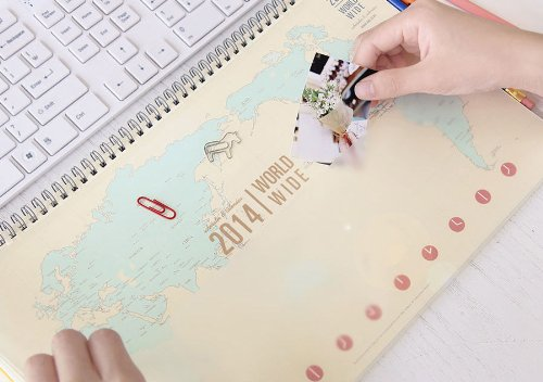 2014 World Wide scheduler & Calendar Pad - Planner, Scheduler, Memo Pad,Worldmap (Ivory)