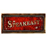 "Wood-Framed, Red Speakeasy Metal Sign, Framed 6""x16″, Art Deco, Vintage, Retro, Game Room, Den, Wall Décor, Hand-Made For Sale"
