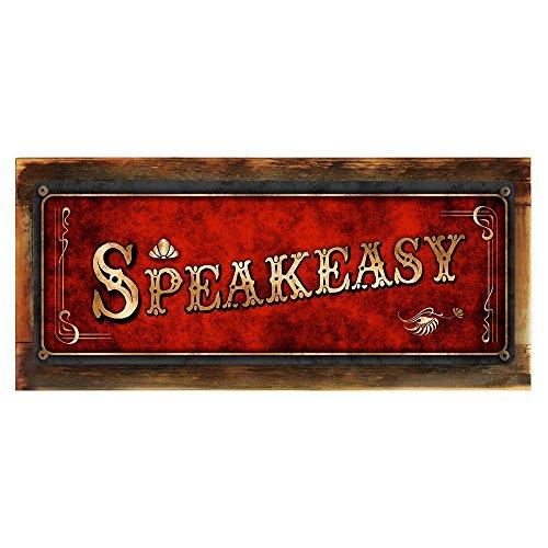 """Wood-Framed, Red Speakeasy Metal Sign, Framed 6""""x16"""