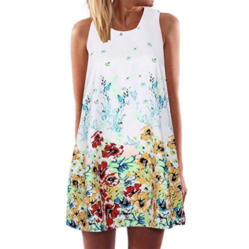 VESNIBA Vintage Boho Tops Women Summer Sleeveless Beach Printed Short Mini Dress