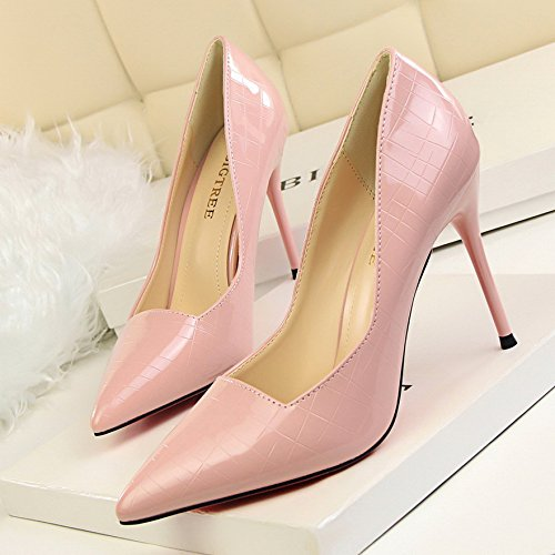 Shoes Autumn Pink And Shoes Nightclub Pointed Heels Pink Stiletto High Color Temperament Shoes Female Single Gun Yukun Spring 39 heels UYXxtnwC