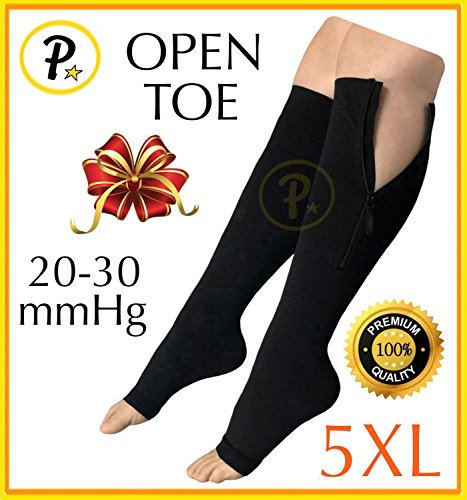 9ac251c096 Presadee Premium Open Toe Big Tall Super Size 20-30 mmHg Zipper Compression  Swelling Leg