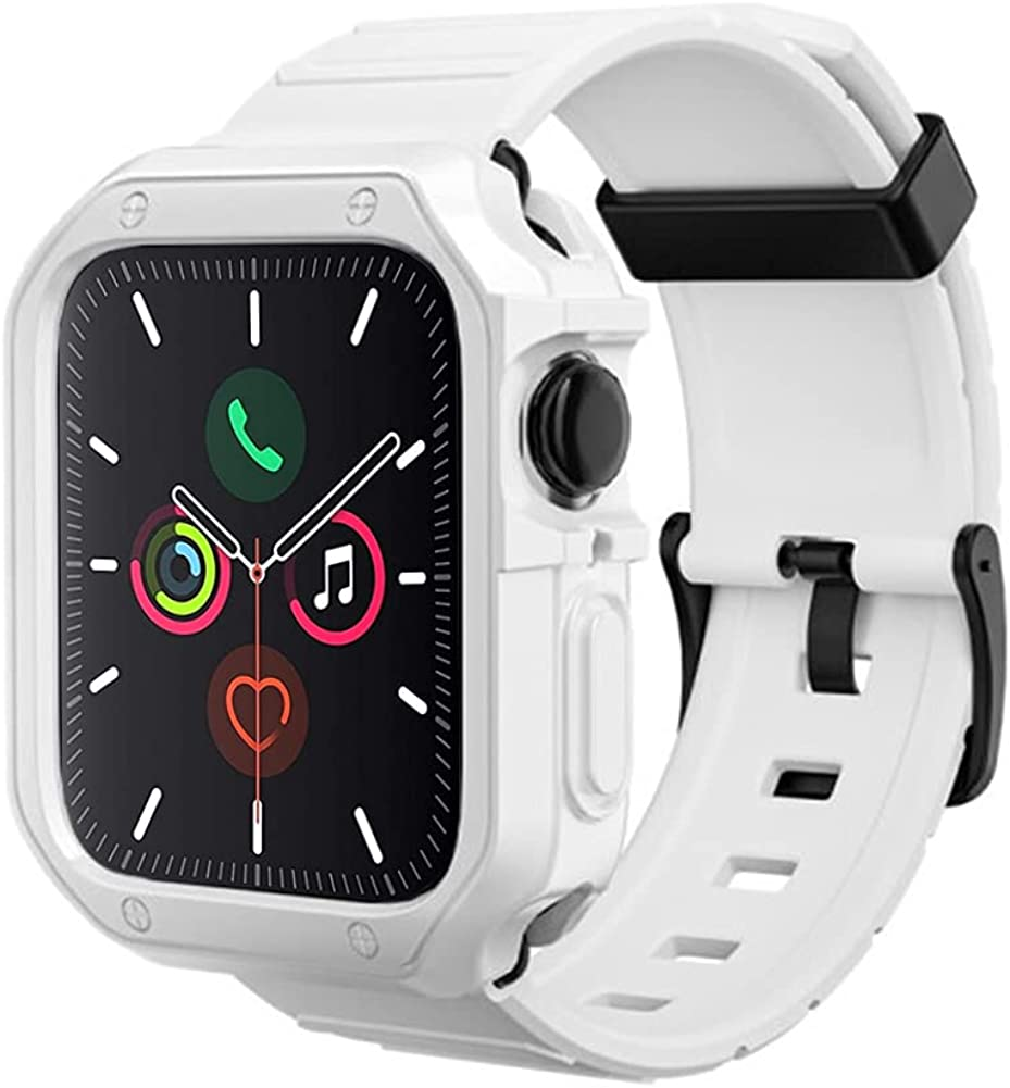 Lasllaves Compatible for Apple Watch Band with Case ,Shockproof Soft TPU Sport Watch Bands Wrist Strap with Protective Bumper Cover for iWatch SE Series 6 / 5 / 4 / 3 / 2 / 1 Accessories
