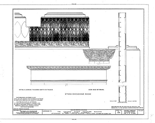 Chicago Bank Lasalle (historic pictoric Blueprint Diagram HABS ILL,16-CHIG,36- (sheet 3 of 5) - Chicago Stock Exchange Building, 30 North LaSalle Street, Chicago, Cook County, IL 20in x 16in)