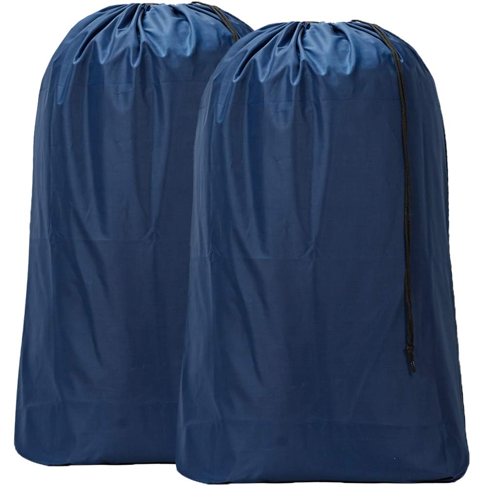 "HOMEST 2 Pack Nylon Laundry Bag, 28""×40"" Travel Drawstring Bag, Rip-Stop Large Hamper Liner, Machine Washable, Blue"