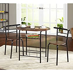 3-piece Bistro Set with 2 Chairs and a Table. The Table Top and Seats Are a Nice Espresso Finish with Black Metal Frames and Legs. Indoor Patio Furniture. Scented Tart Included